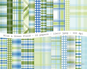 Blue green plaid digital scrapbooking paper pack - 22 printable jpeg papers, 12x12, 300 dpi - instant download