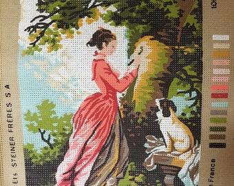 Woman & Dog in Garden Needlepoint