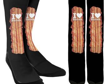 I Love Bacon Crew Socks -Bacon Socks -Bacon Clothing -Funny Socks -Unique Socks -Novelty Socks  Cool Socks -100% Comfort - FREE Shipping B35