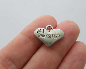 4 #1 Babysitter charms antique silver tone M752