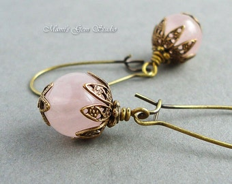 Rose Quartz Earrings in Antiqued Brass, Natural Semi-precious Pink Gemstone, Handcrafted Gift for Mom, Wife, Her