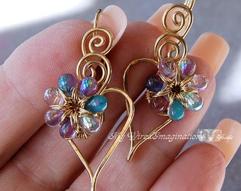 Wire Jewelry Tutorial,  Charming Hearts 2 Earrings,  PDF Instructions, DIY Earrings, Digital Instructions, How to Make Earrings, Wire Wrap