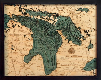 Lake Huron Wood Carved Topographic Depth Chart / Map