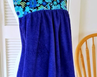 Adult Bib in Teal and Blue Flowers, Cobalt Blue Shirtsaver