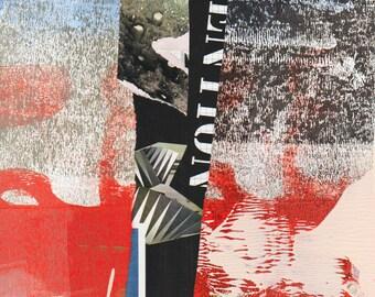 Invention - Collage peint à la main avec des papiers de 8 x 8 sur 14 x 11 support