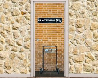 """Platform 9 3/4 Harry Potter Door Poster/Sticker  (31"""" x 79""""   80 x 200 cm)"""