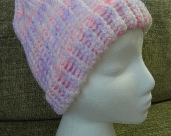 Soft Pink, White, and Purple Child's Knit Hat