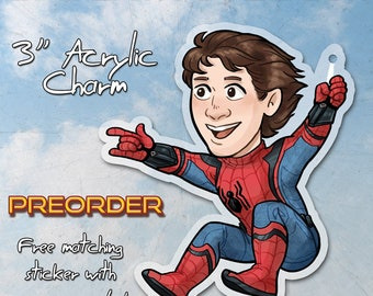 Peter Parker Spiderman acrylic charm keychain with white keychain attachment