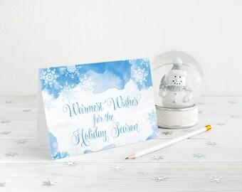 Snowflake Christmas Card Greeting Card, Merry Christmas Holiday Card Watercolor Christmas, Warmest Wishes for the Holiday Season