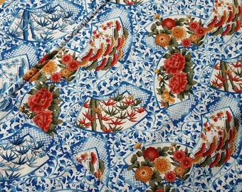 Asian Style Placemats - Blue Placemats - Heat Resistant Placemats - Floral Placemats - Reversible - Set of Two