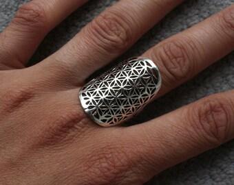 Anello - fiore di vita anello, anello di pietra preziosa, anello tribale, anello bohemien, Boho anello, anello di geometria sacra, Psytrance, Psy in argento con fiore di vita