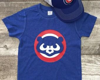 Mens Unisex Chicago Cubs Cubbies Bear Baseball T Short Sleeve T Shirt Blue Red modern graphic trendy Tee Infant Toddler Kid TSLM