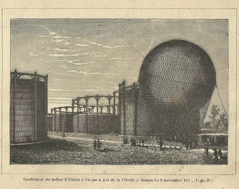 L'Union Balloon Ballooning Flight Aviation Inflating engraving print 1890 Wall Art Home Decor Vintage Print