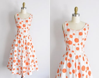 1950s Ode to Clementine dress / vintage 50s cotton dress/ Betty Barclay polka dot dress