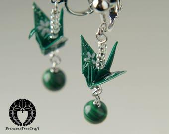 Origami jewelry, Origami crane screw back earrings with malachite gemstone - Green