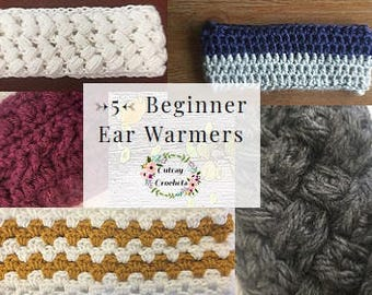CROCHET PATTERN BUNDLE!! 5 Beginner Ear Warmers