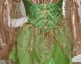 DDNJ Choose Color Fabric Renaissance Fairy Pixie Sprite 4pc Cosplay Larp Anime Plus Custom  Made ANY Size Medieval Forest Elf Elvin Costume
