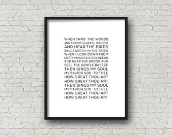How Great Thou Art, Hymn Lyrics, Christian Art, Digital Artwork, Printable Art, Christian Hymn, Song Lyrics, Music Art Print, Gallery Wall
