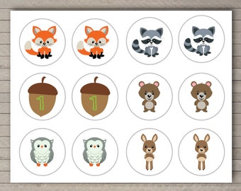 Instant Download Printable Woodland Cupcake Toppers -- Woodland ONEderland Birthday Party -- DIY -- Woodland Animals -- First Birthday