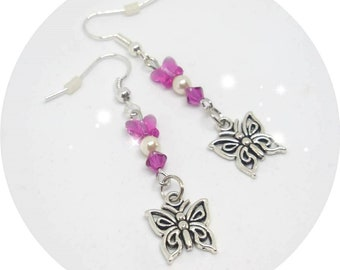 Butterfly and Swarovski crystals earrings
