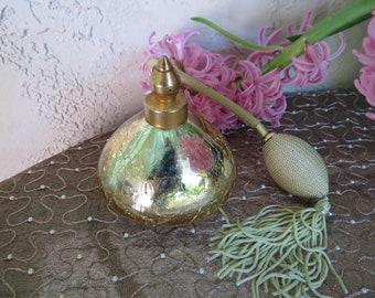 Irice Gold Mercury Glass Perfume Atomizer Bottle