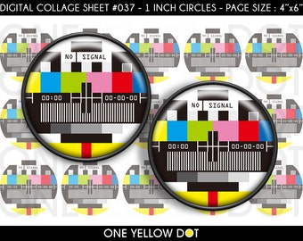 INSTANT DOWNLOAD - 1 Inch Circles Digital Collage Sheet - Vintage TV Test Screen - Bottle Caps Scrapbooking Pendant Magnets Tags - 037