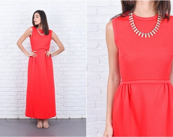 Vintage 70s Red Mod Dress Ribbed A Line Maxi Crewneck Sleeveless SMall S 7591 vintage dress red dress mod dress a line dress maxi dress