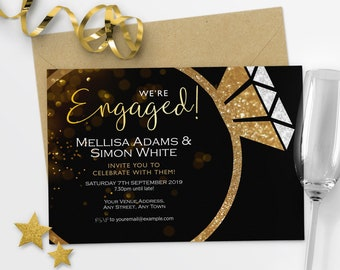 Engagement Party Invitations Gold Engagement Invitation We're Engaged Invitation #49-05