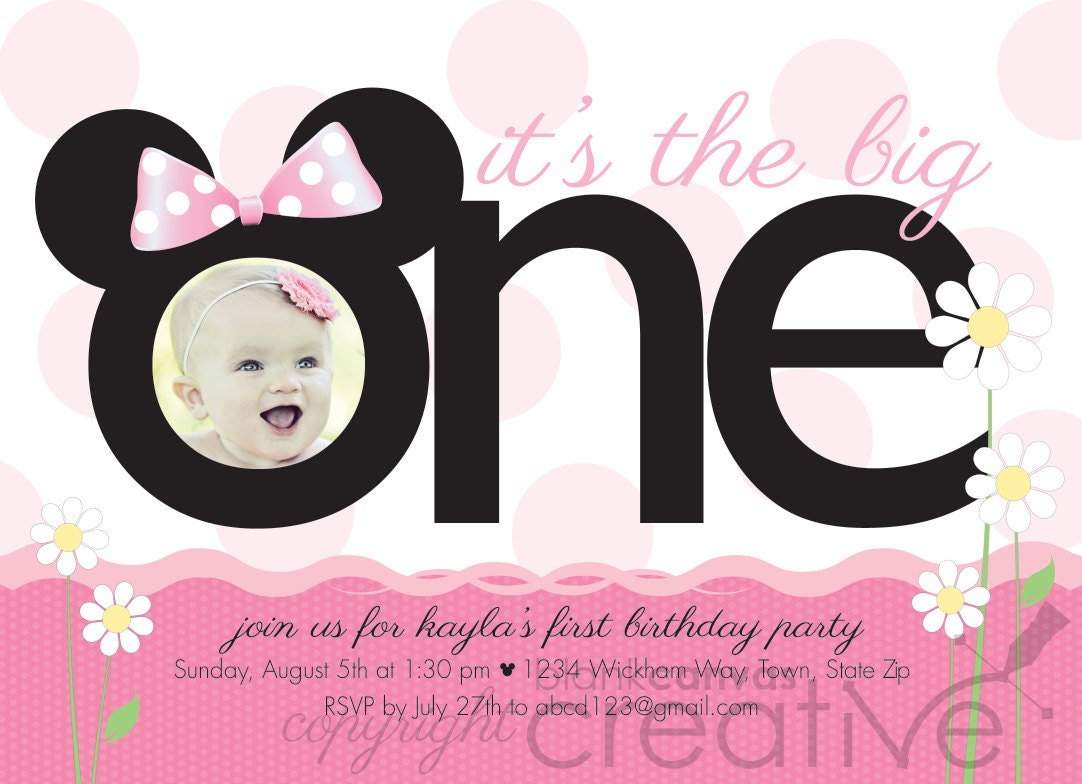 First Birthday Invitation Minnie Mickey Mouse 1st Birthday