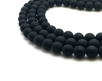10mm Natural Frosted Black Agate Beads Round 10mm Black Agate 10mm Frosted Agate Frosted Beads Frosted Gemstone Frosted Onyx Frosted