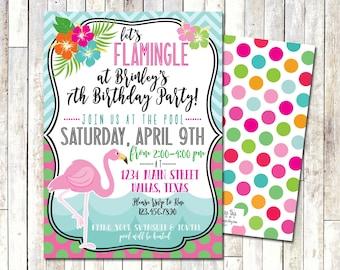 FLAMINGO BIRTHDAY INVITE | Let's Flamingle | Pool Party | Summer Birthday Invite
