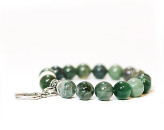 Moss Agate Bracelet Stack Beaded - Simple Stretch Bracelet - Horseshoe Charm