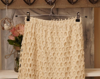 Wedding Boho bohemian Lace skirt in cream, cotton lace -cotton skirt - cotton Jersey
