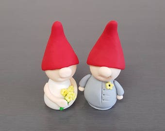 2 x Gnome Cake Toppers, Gnome decorations, Garden Gnomes, Fondant Gnome, Wedding, party supplies