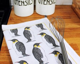 Penguin Tea Towel - tea towel-  Christmas kitchen towel - dish towel - cotton - kitchen textiles - penguins - bakers gift - chefs gift -
