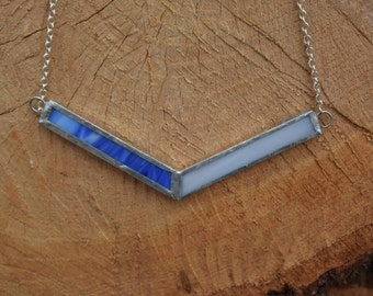 Recycled Stained Glass Color Block Necklace