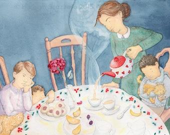Children's Watercolor Illustration: Winter Tea
