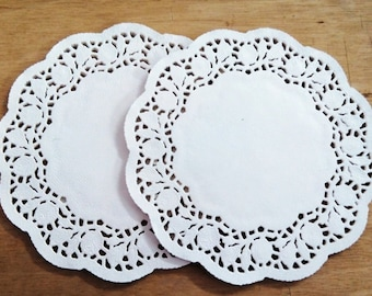 """Pack of 50 sheets - small white paper doilies, 3.5"""", 4.5"""", 5.5"""", 6.5"""""""