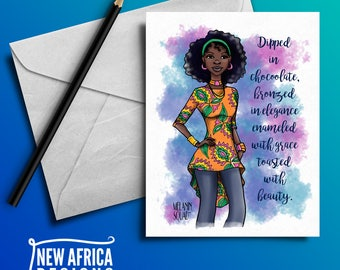 "Melanin Squad Greeting Card ""Assata"", A7, Black Greeting cards"