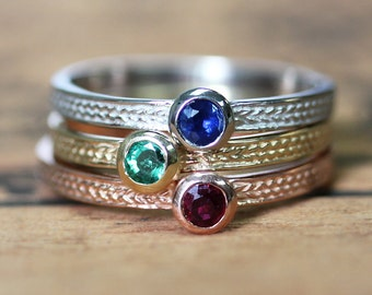 Gemstone stacking ring, birthstone stacking ring set, gift for wife mom, wheat braided ring, ruby emerald sapphire ring, custom personalized