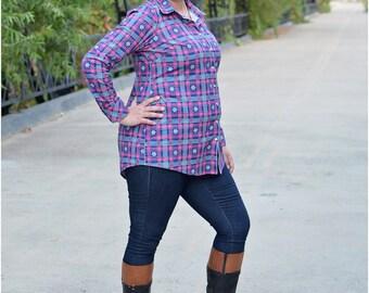 Oakley Button-Up PDF Sewing Pattern: Women's Blouse Pattern, Women's Button-Up Shirt Pattern