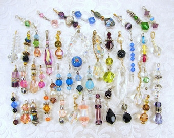 LOT 45 Crystal Dangles Earring Drops Single Earrings Charms Thin Long Pendants All Crystals Glass Pearl Purple Pink Blue Red Green Black