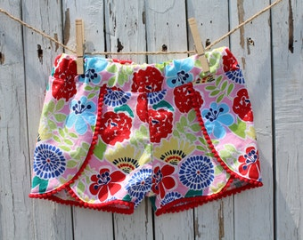 Little Girls Shorts with Pom Pom Trim, Little Girls Coachella Shorts, Infant/Toddler Shorts, Bold Pink Floral Shorts with Pom Pom Trim