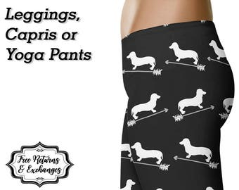 Dachshund Arrow Leggings, Yoga Pants, Capris • Dachshund Leggings Doxie Mom Wiener Dog Weiner Dog Weenie Dog Leggings Yoga Leggings Gift