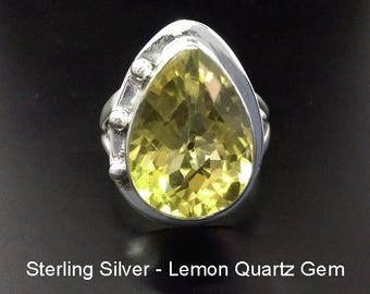 Sterling Silver Ring with Lemon Quartz Gemstone, Size 8 1/4. Stunning 925 Sterling Silver Ring 236 with Lemon Quartz Gemstone | Size 8 1/4