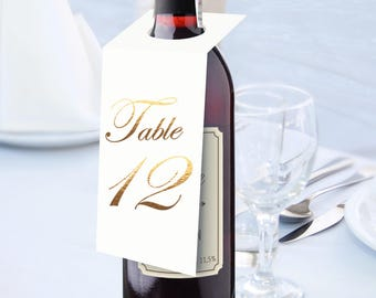 1-6 Red Wine Wedding Table Number Signs, Golden Print Numbers Table Cards, Tented Table Decor, Tented Table Numbers