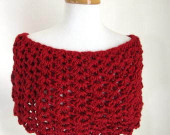 Red Knit Capelet - Warm Red Shoulder Cover - Red Knitted Cowl