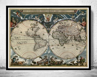 Old World Map Antique 1684
