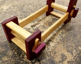 Purpleheart and curly maple card tablet weaving loom