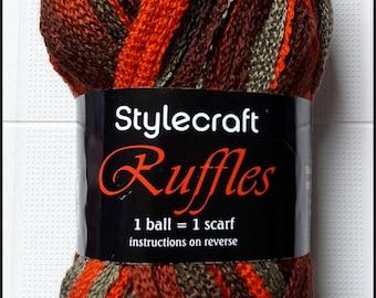 SALE - Stylecraft Ruffles acrylic, scarf yarn colour 1471, browns, greens and orange
